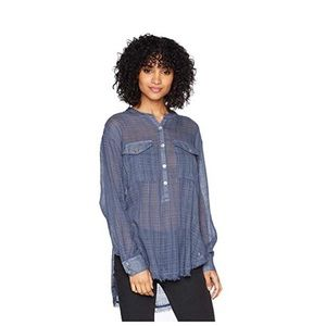 Free People Talk to me Blue Button Down